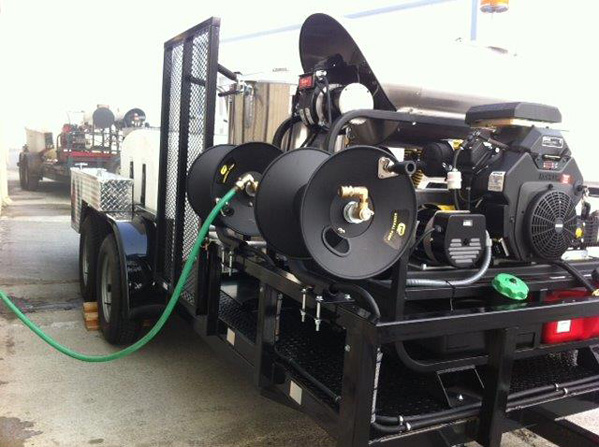Custom Jetter Showing Motor and Hose Reels